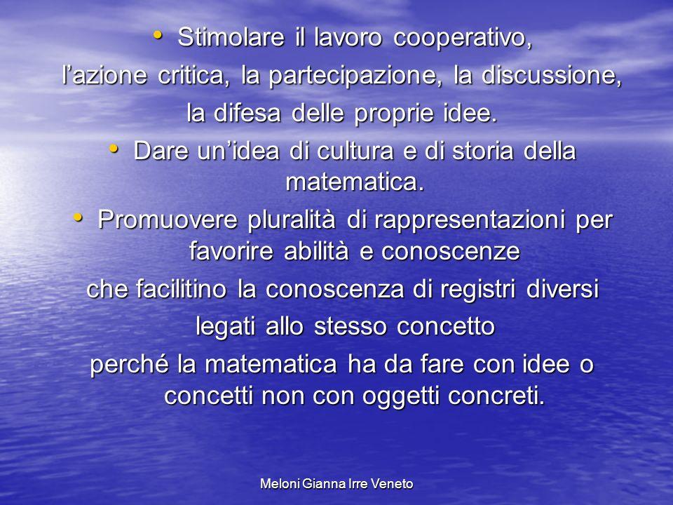 Meloni Gianna Irre Veneto Stimolare il lavoro cooperativo, Stimolare il lavoro cooperativo, lazione critica, la partecipazione, la discussione, la difesa delle proprie idee.
