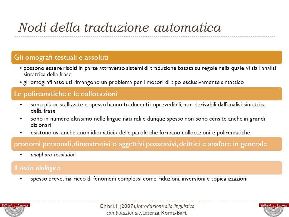 Nodi della traduzione automatica Chiari, I. (2007), Introduzione alla linguistica computazionale, Laterza, Roma-Bari. Gli omografi testuali e assoluti