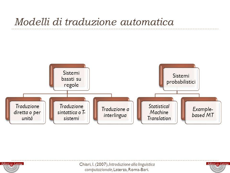 Modelli di traduzione automatica Chiari, I. (2007), Introduzione alla linguistica computazionale, Laterza, Roma-Bari. Sistemi basati su regole Traduzi