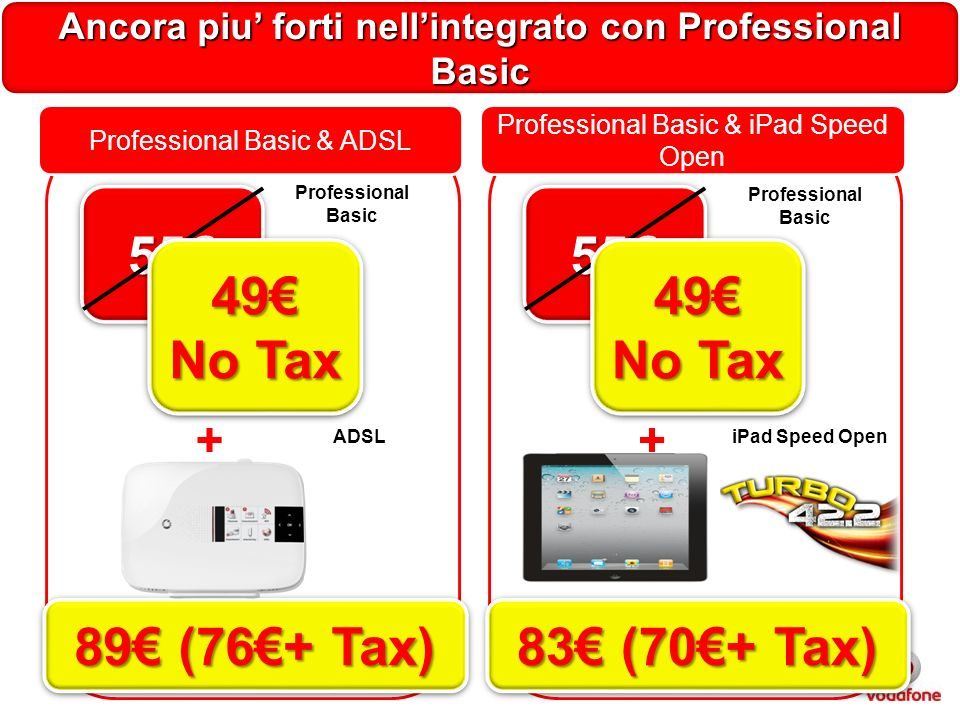 Ancora piu forti nellintegrato con Professional Basic Professional Basic & ADSL + Professional Basic ADSL 5555 49 No Tax 49 89 (76+ Tax) Professional Basic & iPad Speed Open + iPad Speed Open 5555 49 No Tax 49 83 (70+ Tax) Professional Basic