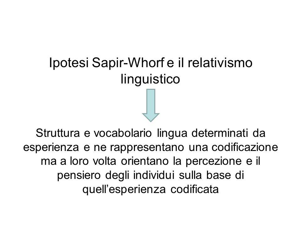 Ipotesi Sapir-Whorf e il relativismo linguistico Struttura e vocabolario lingua determinati da esperienza e ne rappresentano una codificazione ma a lo