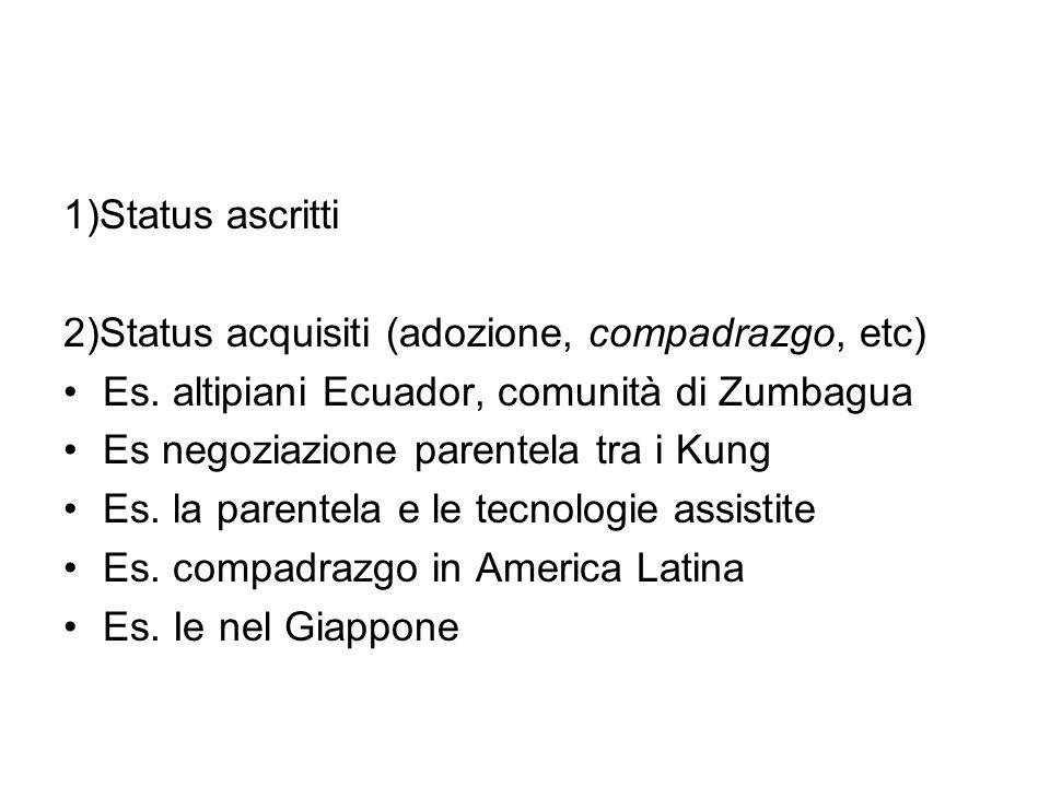 1)Status ascritti 2)Status acquisiti (adozione, compadrazgo, etc) Es. altipiani Ecuador, comunità di Zumbagua Es negoziazione parentela tra i Kung Es.