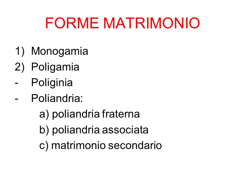 FORME MATRIMONIO 1)Monogamia 2)Poligamia -Poliginia -Poliandria: a) poliandria fraterna b) poliandria associata c) matrimonio secondario