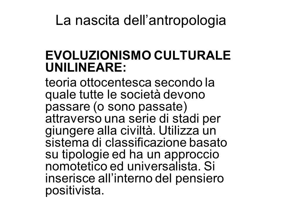 La nascita dellantropologia EVOLUZIONISMO CULTURALE UNILINEARE: teoria ottocentesca secondo la quale tutte le società devono passare (o sono passate)