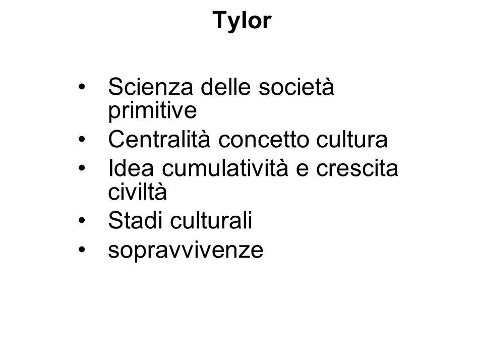 Tylor Scienza delle società primitive Centralità concetto cultura Idea cumulatività e crescita civiltà Stadi culturali sopravvivenze