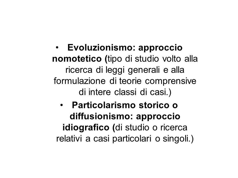 Evoluzionismo: approccio nomotetico (tipo di studio volto alla ricerca di leggi generali e alla formulazione di teorie comprensive di intere classi di