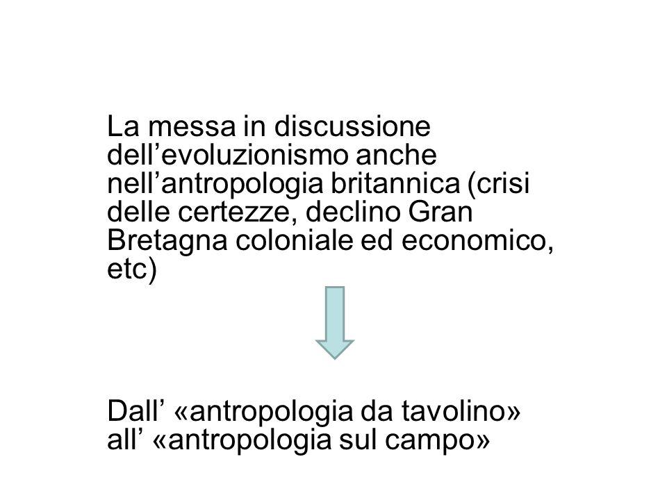 La messa in discussione dellevoluzionismo anche nellantropologia britannica (crisi delle certezze, declino Gran Bretagna coloniale ed economico, etc)