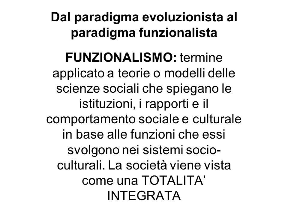 Dal paradigma evoluzionista al paradigma funzionalista FUNZIONALISMO: termine applicato a teorie o modelli delle scienze sociali che spiegano le istit