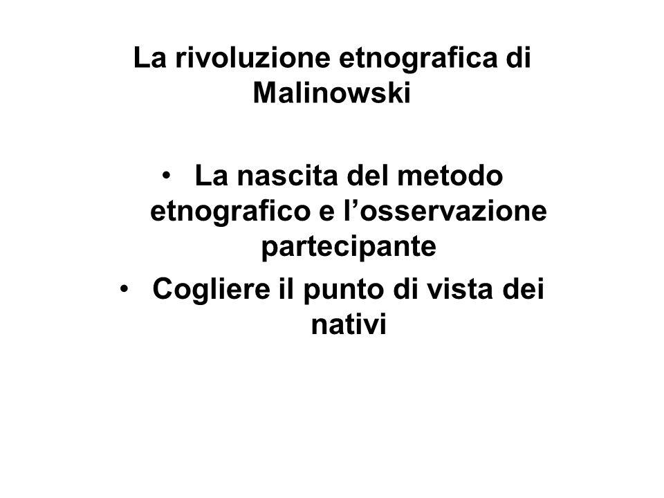La rivoluzione etnografica di Malinowski La nascita del metodo etnografico e losservazione partecipante Cogliere il punto di vista dei nativi