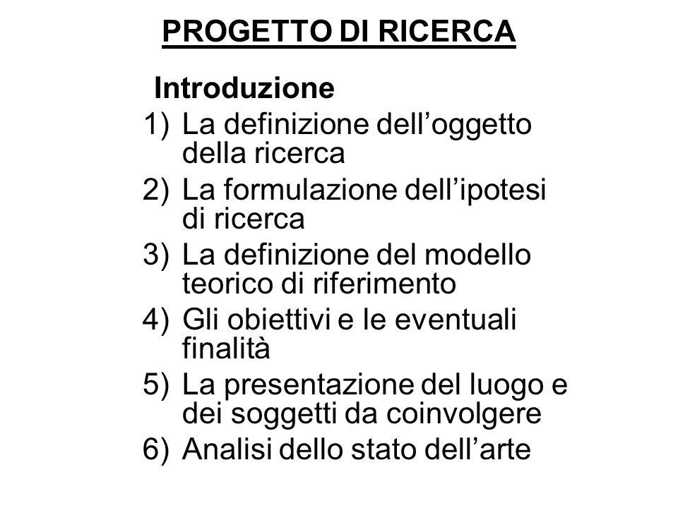 PROGETTO DI RICERCA Introduzione 1)La definizione delloggetto della ricerca 2)La formulazione dellipotesi di ricerca 3)La definizione del modello teor