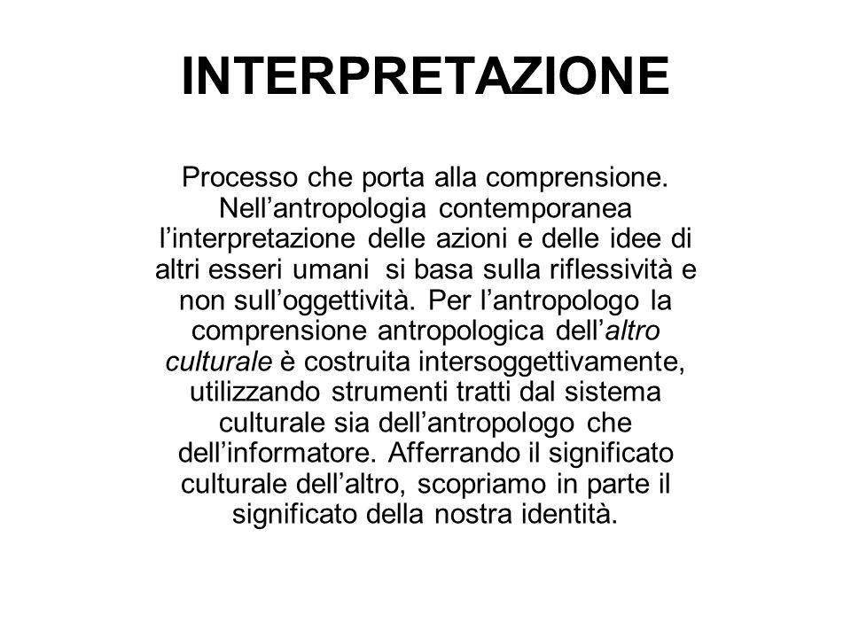 INTERPRETAZIONE Processo che porta alla comprensione. Nellantropologia contemporanea linterpretazione delle azioni e delle idee di altri esseri umani