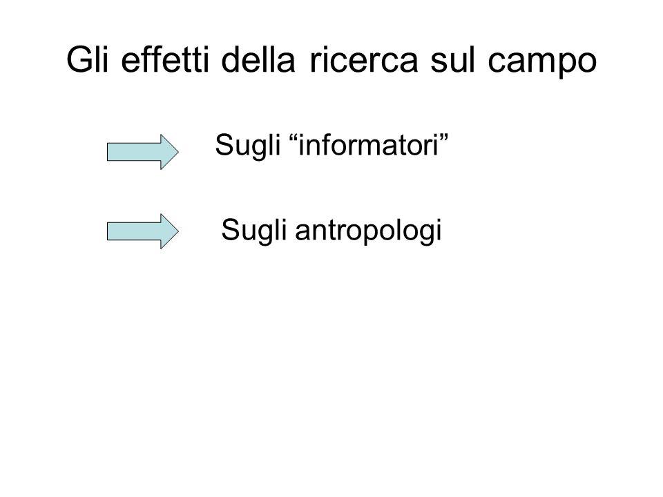 Gli effetti della ricerca sul campo Sugli informatori Sugli antropologi