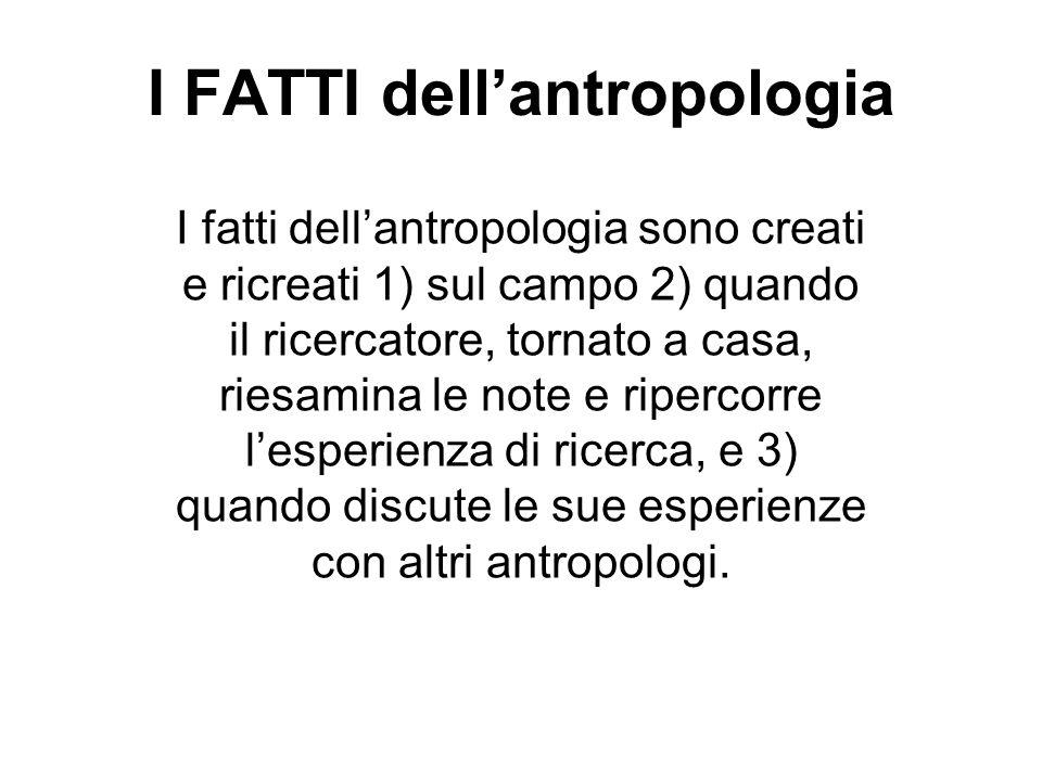 I FATTI dellantropologia I fatti dellantropologia sono creati e ricreati 1) sul campo 2) quando il ricercatore, tornato a casa, riesamina le note e ri