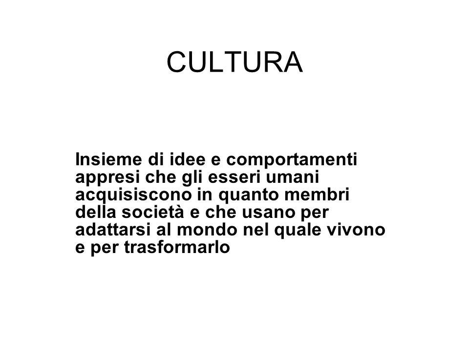 CULTURA Insieme di idee e comportamenti appresi che gli esseri umani acquisiscono in quanto membri della società e che usano per adattarsi al mondo ne
