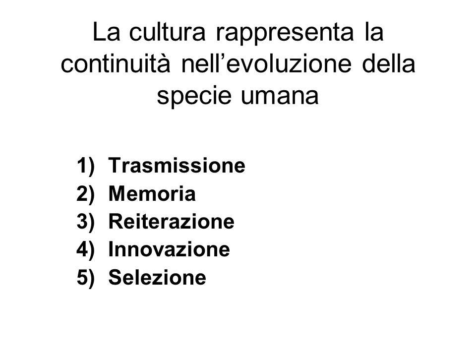 La cultura rappresenta la continuità nellevoluzione della specie umana 1)Trasmissione 2)Memoria 3)Reiterazione 4)Innovazione 5)Selezione