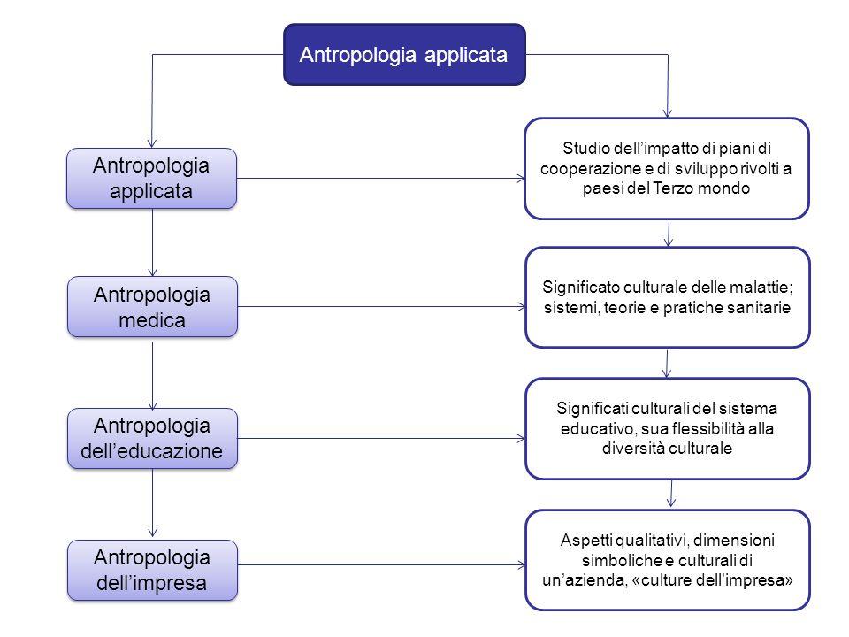 Antropologia applicata Antropologia medica Antropologia delleducazione Antropologia dellimpresa Studio dellimpatto di piani di cooperazione e di svilu