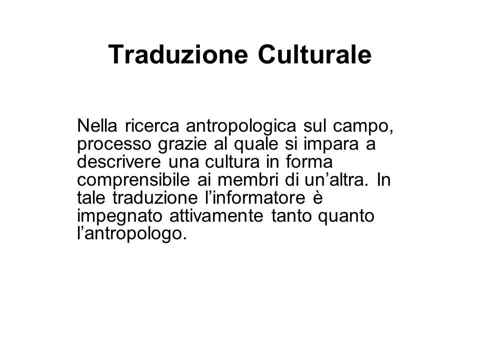 Traduzione Culturale Nella ricerca antropologica sul campo, processo grazie al quale si impara a descrivere una cultura in forma comprensibile ai memb