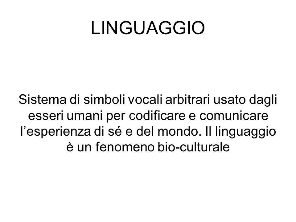 LINGUAGGIO Sistema di simboli vocali arbitrari usato dagli esseri umani per codificare e comunicare lesperienza di sé e del mondo. Il linguaggio è un