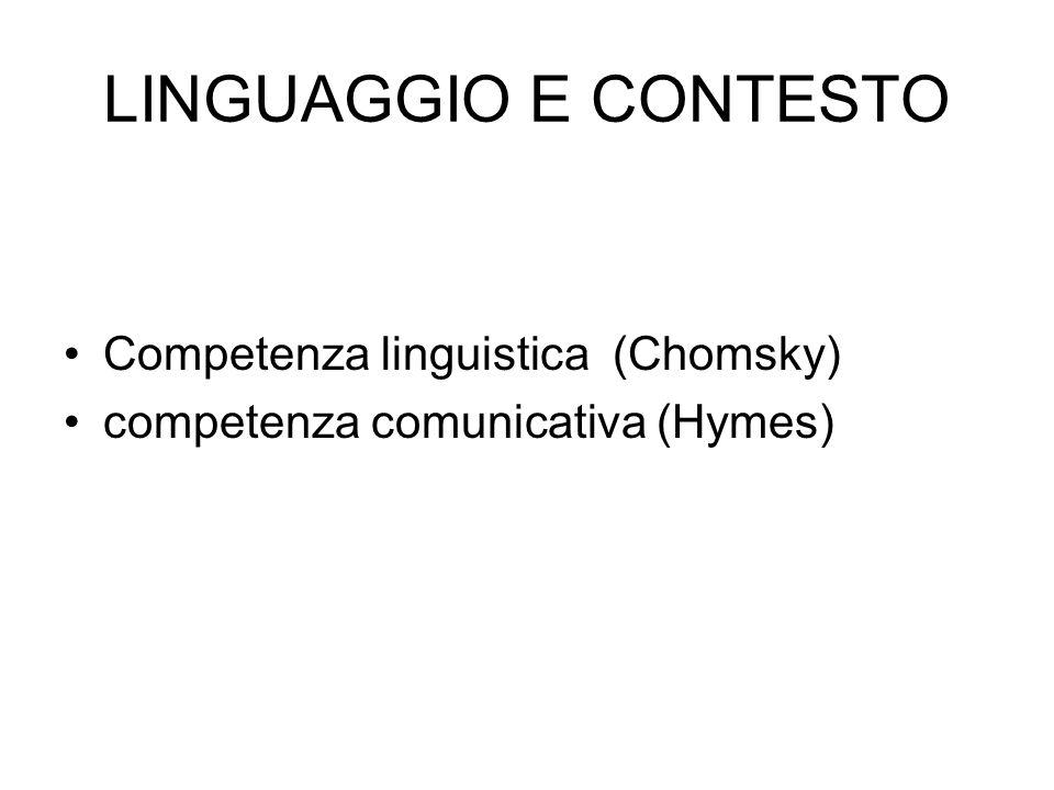 LINGUAGGIO E CONTESTO Competenza linguistica (Chomsky) competenza comunicativa (Hymes)