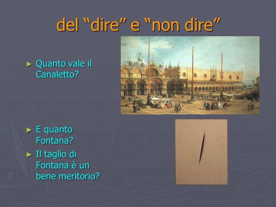 del dire e non dire Quanto vale il Canaletto? Quanto vale il Canaletto? E quanto Fontana? E quanto Fontana? Il taglio di Fontana è un bene meritorio?