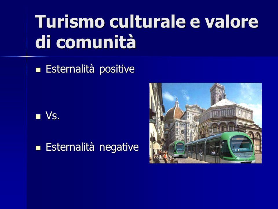 Turismo culturale e valore di comunità Esternalità positive Esternalità positive Vs. Vs. Esternalità negative Esternalità negative
