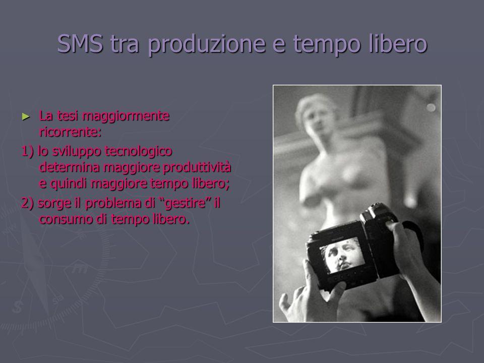SMS tra produzione e tempo libero La tesi maggiormente ricorrente: La tesi maggiormente ricorrente: 1) lo sviluppo tecnologico determina maggiore prod