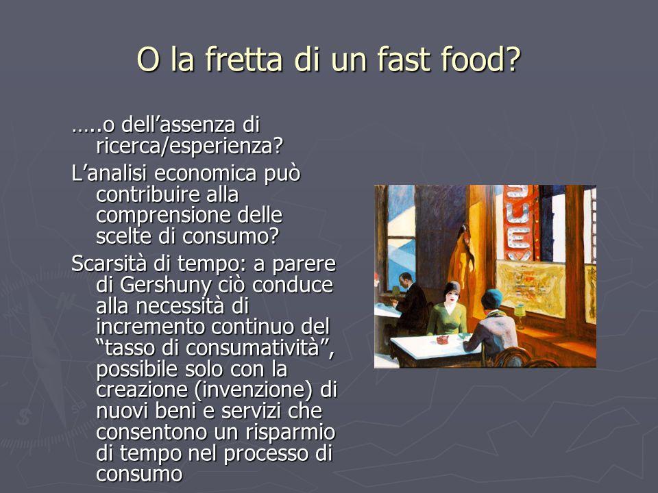 O la fretta di un fast food? …..o dellassenza di ricerca/esperienza? Lanalisi economica può contribuire alla comprensione delle scelte di consumo? Sca