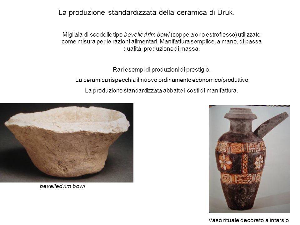 La produzione standardizzata della ceramica di Uruk. Migliaia di scodelle tipo bevelled rim bowl (coppe a orlo estroflesso) utilizzate come misura per