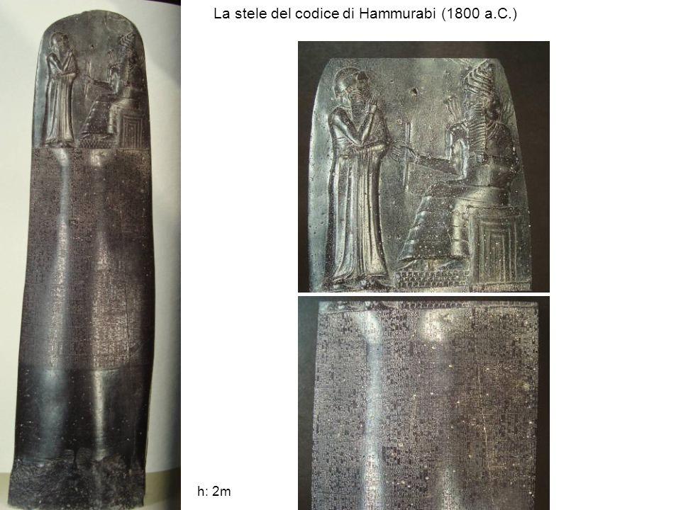 La stele del codice di Hammurabi (1800 a.C.) h: 2m