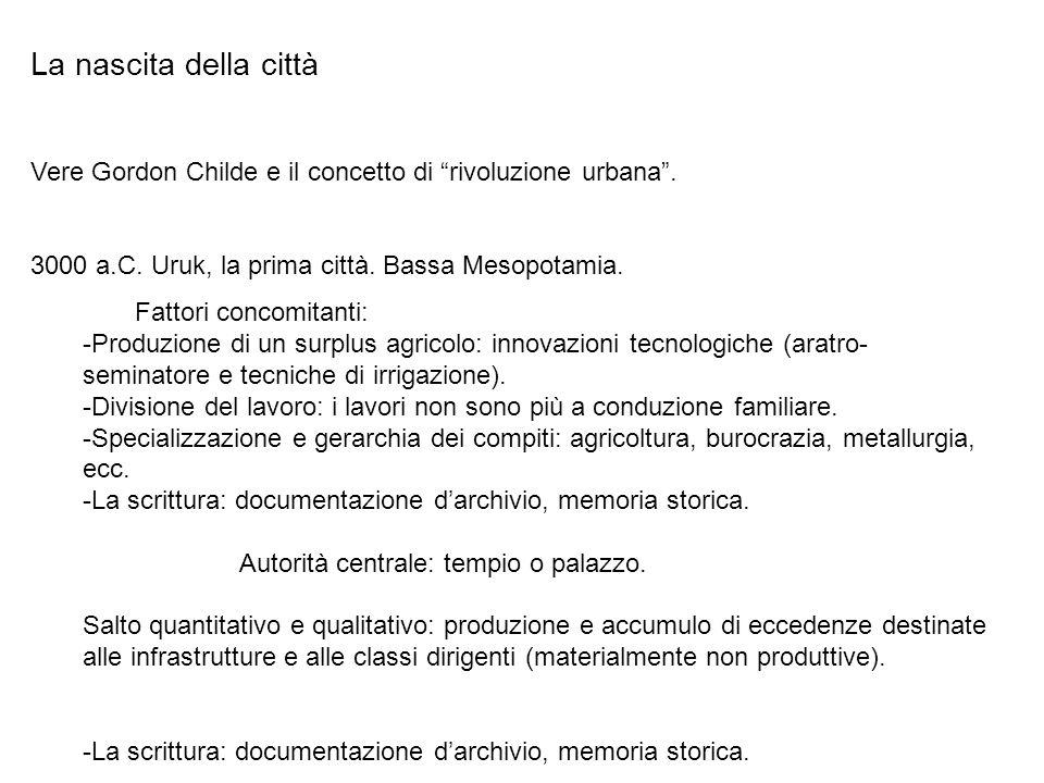La nascita della città Vere Gordon Childe e il concetto di rivoluzione urbana. 3000 a.C. Uruk, la prima città. Bassa Mesopotamia. Fattori concomitanti