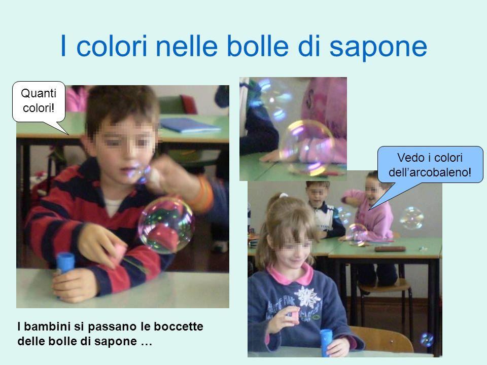 I colori nelle bolle di sapone I bambini si passano le boccette delle bolle di sapone … Quanti colori! Vedo i colori dellarcobaleno!