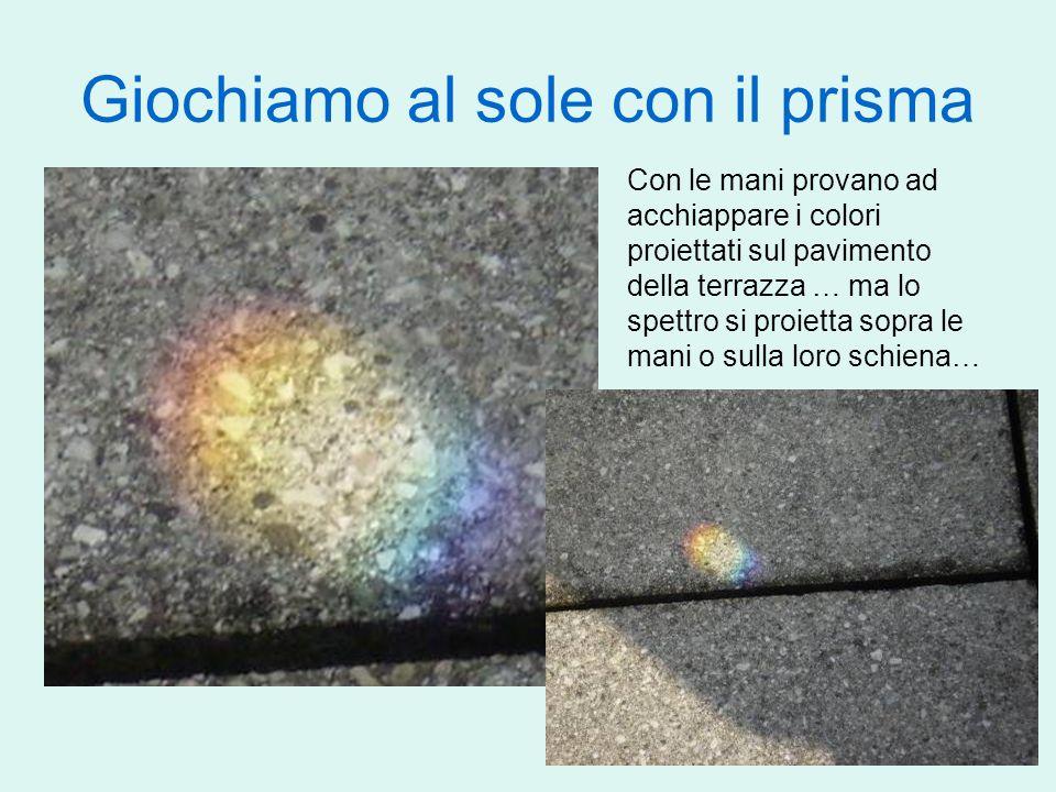 Giochiamo al sole con il prisma Con le mani provano ad acchiappare i colori proiettati sul pavimento della terrazza … ma lo spettro si proietta sopra