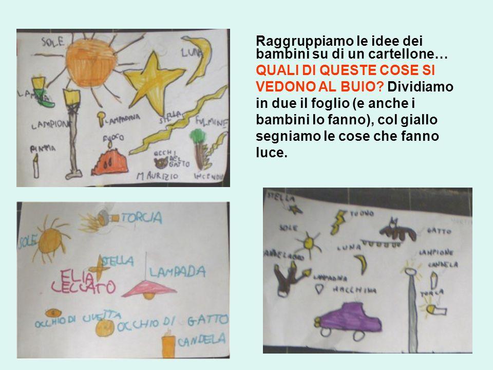 Raggruppiamo le idee dei bambini su di un cartellone… QUALI DI QUESTE COSE SI VEDONO AL BUIO? Dividiamo in due il foglio (e anche i bambini lo fanno),