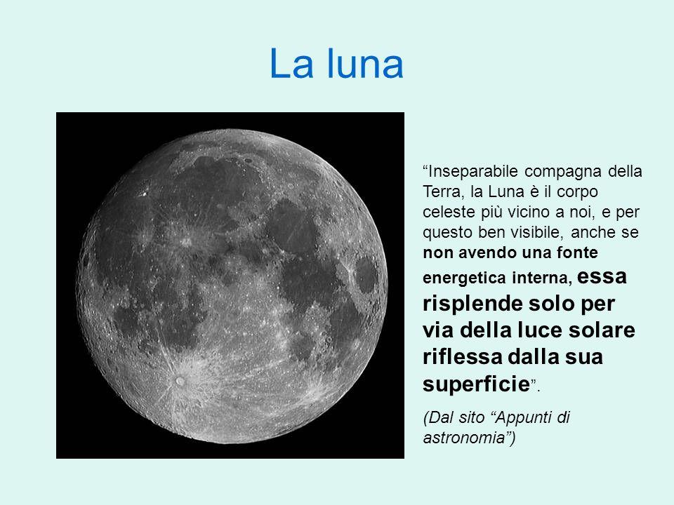 La luna Inseparabile compagna della Terra, la Luna è il corpo celeste più vicino a noi, e per questo ben visibile, anche se non avendo una fonte energ