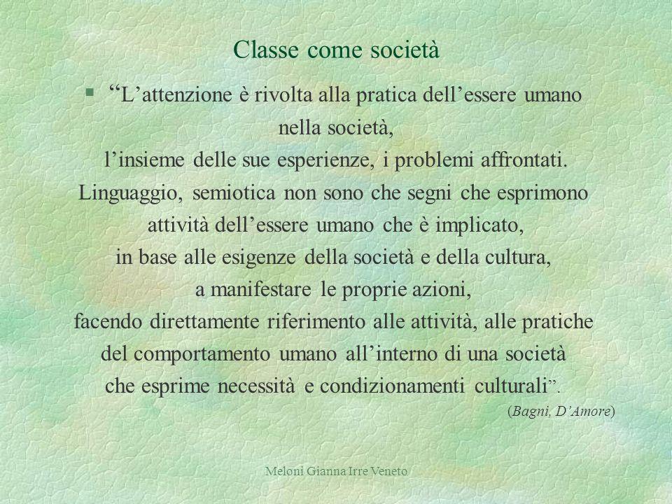 Meloni Gianna Irre Veneto Classe come società § Lattenzione è rivolta alla pratica dellessere umano nella società, linsieme delle sue esperienze, i problemi affrontati.