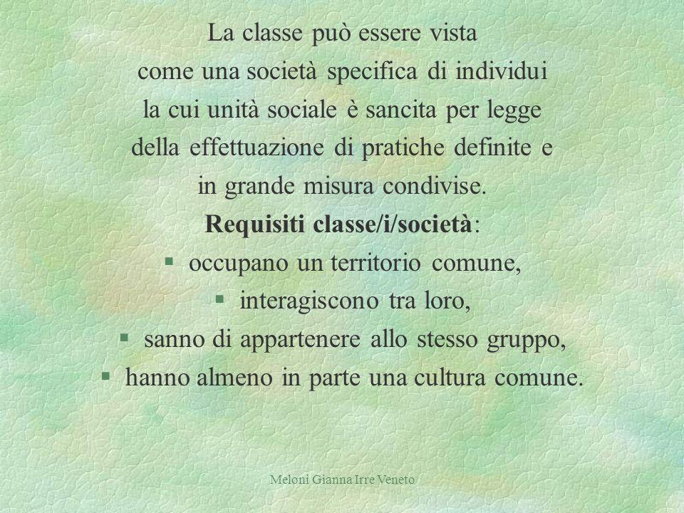 Meloni Gianna Irre Veneto La classe può essere vista come una società specifica di individui la cui unità sociale è sancita per legge della effettuazione di pratiche definite e in grande misura condivise.