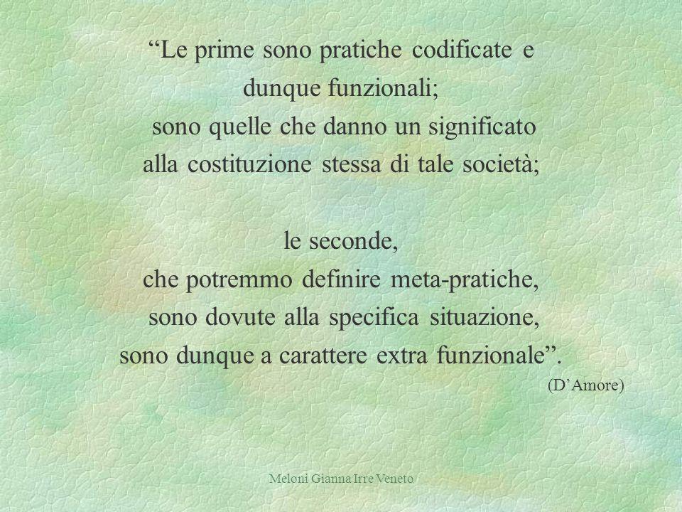 Meloni Gianna Irre Veneto Le prime sono pratiche codificate e dunque funzionali; sono quelle che danno un significato alla costituzione stessa di tale società; le seconde, che potremmo definire meta-pratiche, sono dovute alla specifica situazione, sono dunque a carattere extra funzionale.