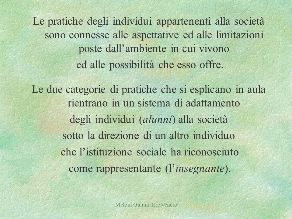 Meloni Gianna Irre Veneto Le pratiche degli individui appartenenti alla società sono connesse alle aspettative ed alle limitazioni poste dallambiente in cui vivono ed alle possibilità che esso offre.