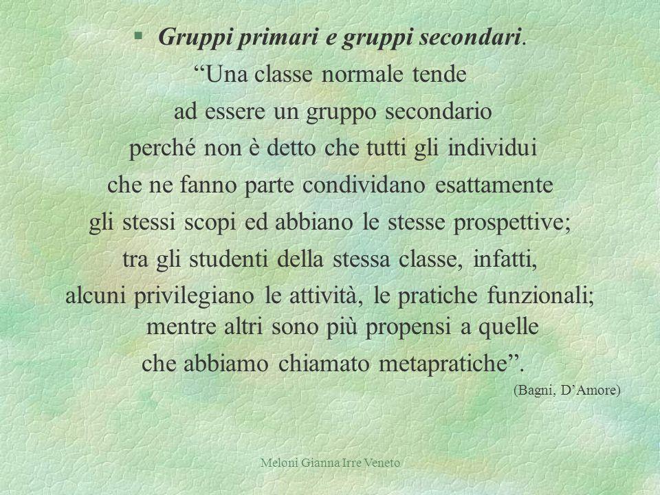 Meloni Gianna Irre Veneto §Gruppi primari e gruppi secondari.