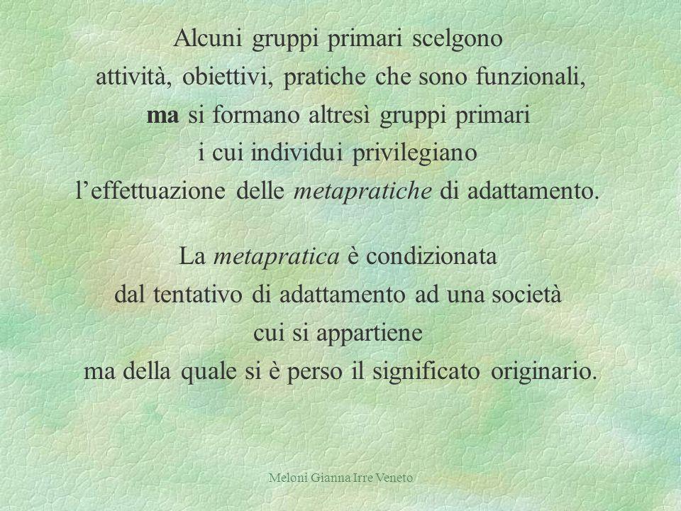 Meloni Gianna Irre Veneto Alcuni gruppi primari scelgono attività, obiettivi, pratiche che sono funzionali, ma si formano altresì gruppi primari i cui individui privilegiano leffettuazione delle metapratiche di adattamento.