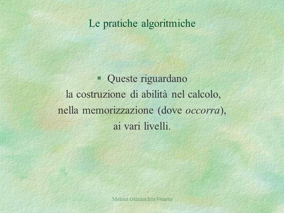 Meloni Gianna Irre Veneto Le pratiche algoritmiche §Queste riguardano la costruzione di abilità nel calcolo, nella memorizzazione (dove occorra), ai vari livelli.