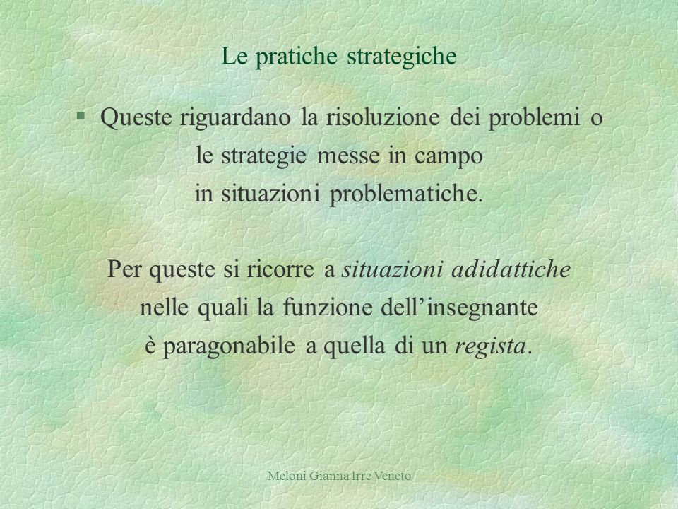 Meloni Gianna Irre Veneto Le pratiche strategiche §Queste riguardano la risoluzione dei problemi o le strategie messe in campo in situazioni problematiche.