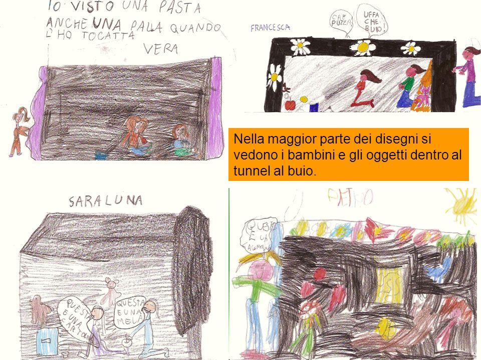 Nella maggior parte dei disegni si vedono i bambini e gli oggetti dentro al tunnel al buio.