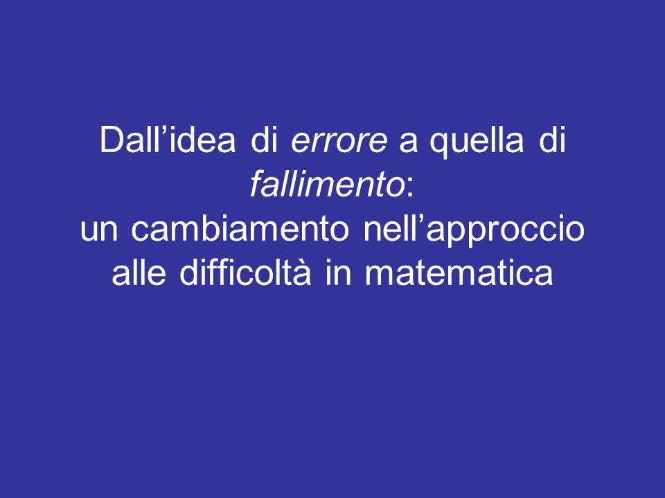 Dallidea di errore a quella di fallimento: un cambiamento nellapproccio alle difficoltà in matematica