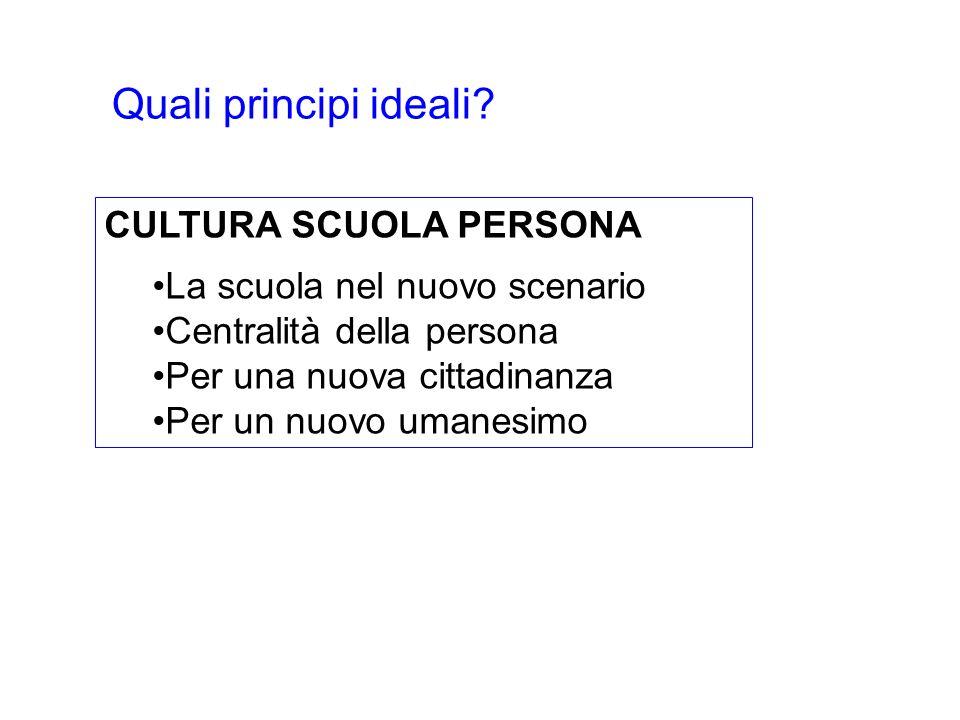 CULTURA SCUOLA PERSONA La scuola nel nuovo scenario Centralità della persona Per una nuova cittadinanza Per un nuovo umanesimo Quali principi ideali?
