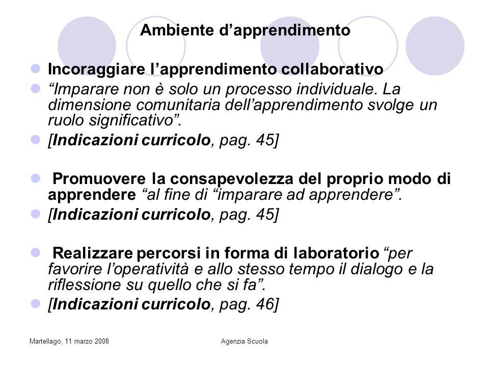Martellago, 11 marzo 2008Agenzia Scuola Ambiente dapprendimento Incoraggiare lapprendimento collaborativo Imparare non è solo un processo individuale.