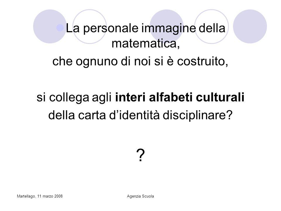 Martellago, 11 marzo 2008Agenzia Scuola La personale immagine della matematica, che ognuno di noi si è costruito, si collega agli interi alfabeti culturali della carta didentità disciplinare.