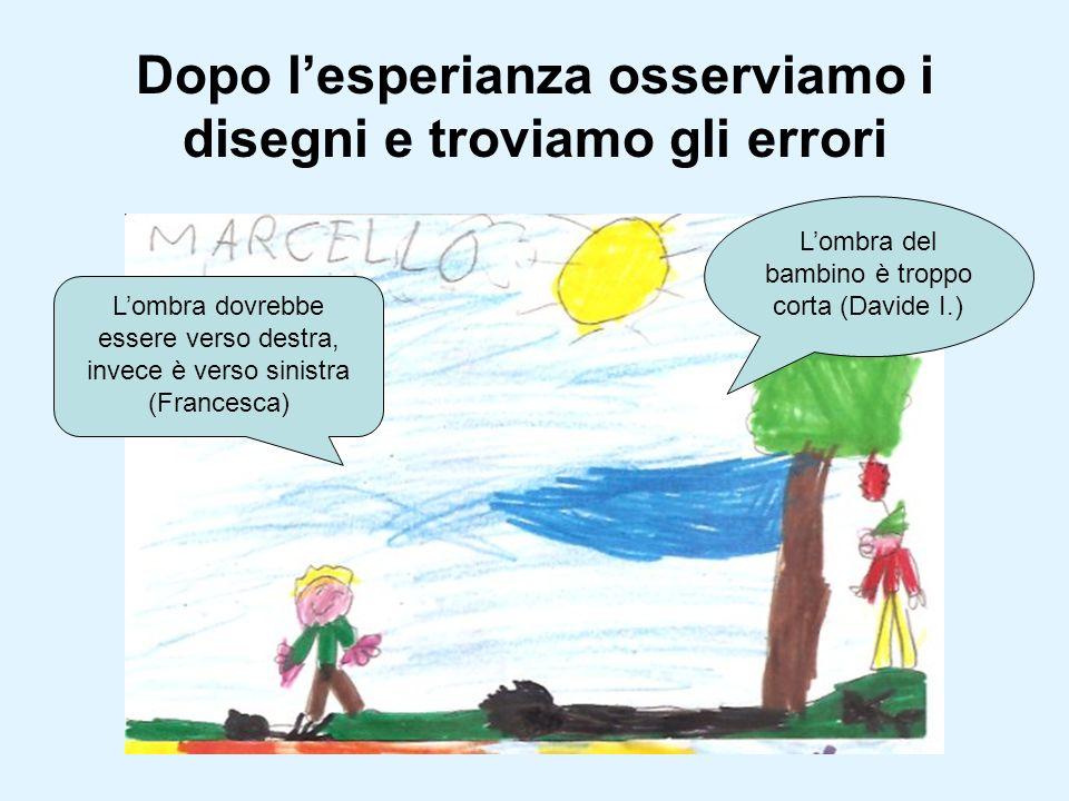 Dopo lesperianza osserviamo i disegni e troviamo gli errori Lombra dovrebbe essere verso destra, invece è verso sinistra (Francesca) Lombra del bambin