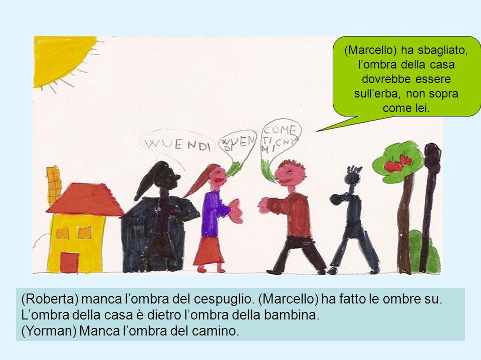 (Roberta) manca lombra del cespuglio. (Marcello) ha fatto le ombre su. Lombra della casa è dietro lombra della bambina. (Yorman) Manca lombra del cami