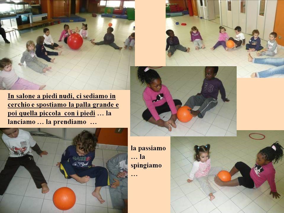 In salone a piedi nudi, ci sediamo in cerchio e spostiamo la palla grande e poi quella piccola con i piedi … la lanciamo … la prendiamo … la passiamo … la spingiamo …